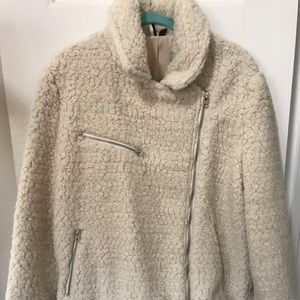 Topshop off white faux shearling motorcycle jacket